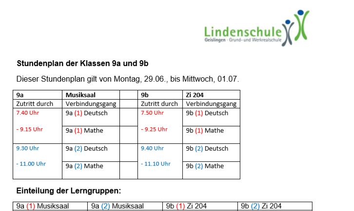Stundenplan_Kl 9_ 29.6. - 1.7.